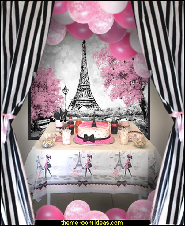 paris party pink paris  Paris Eiffel Tower Backdrop
