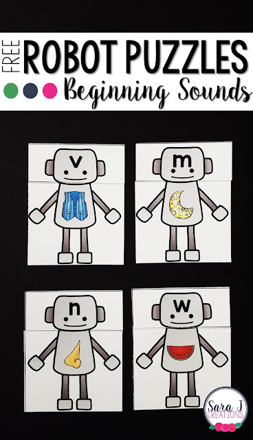 Free beginning sounds robot themed puzzles help students to practice the initial sound that letters make.