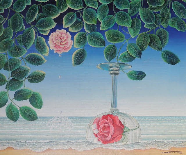 acuarela surrealista isidro ventura rosa prisionera