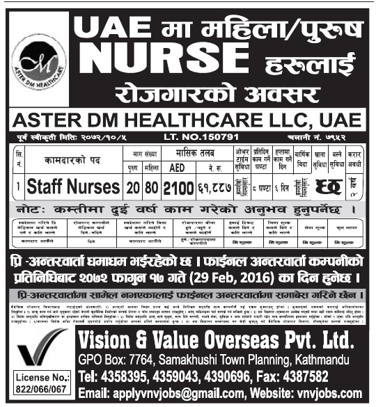 Jobs in UAE for Staff Nurse, Salary Rs 61,887