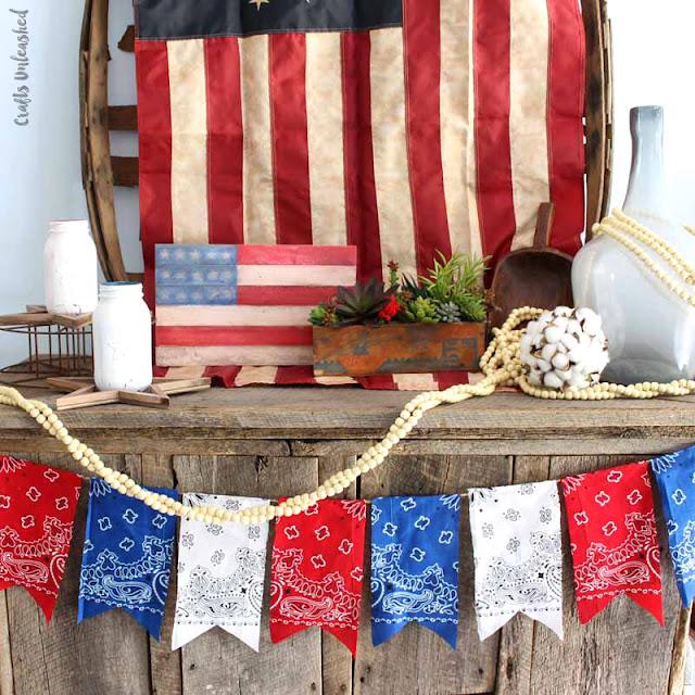 patriotic bandana banner no sew diy