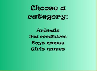 Empat kategori yang dapat dipilih
