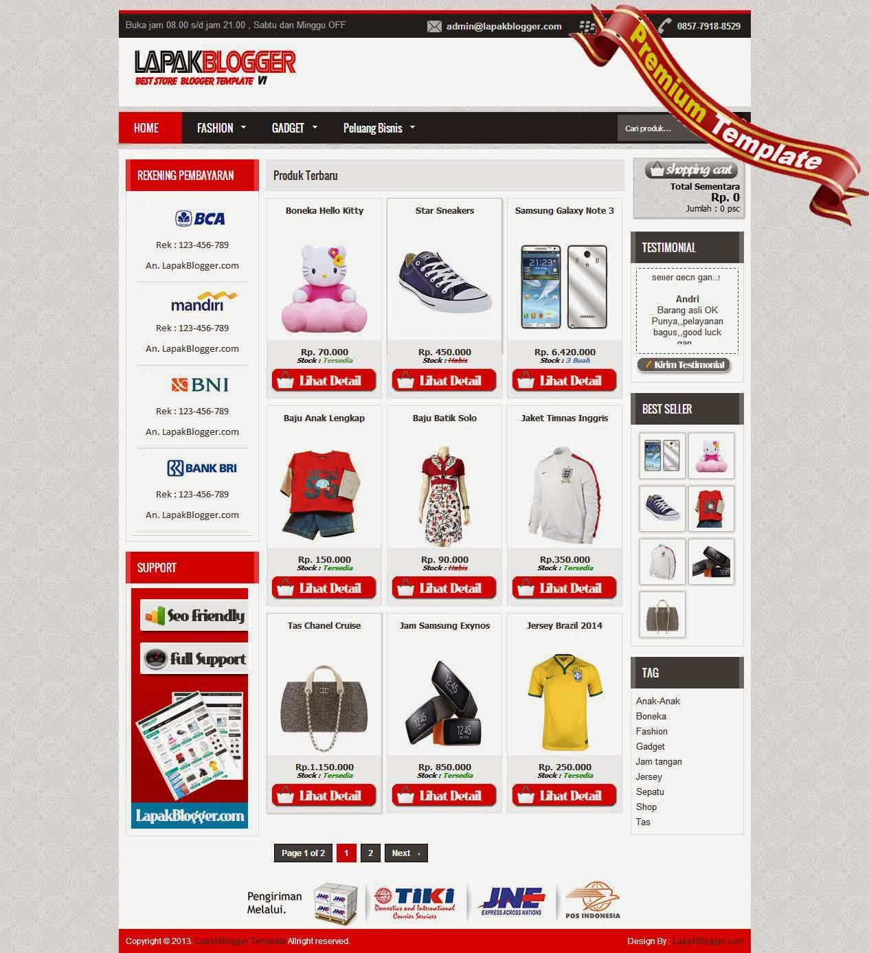lapakblogger red template premium