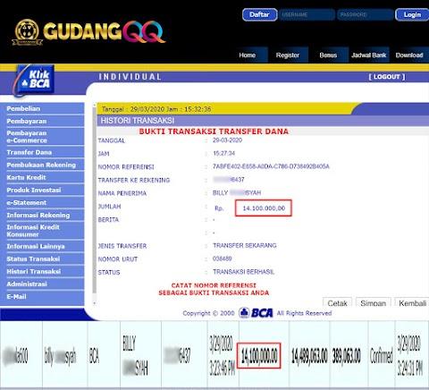 Selamat Kepada Member Setia GudangQQ WD sebesar Rp. 14,100,000.-