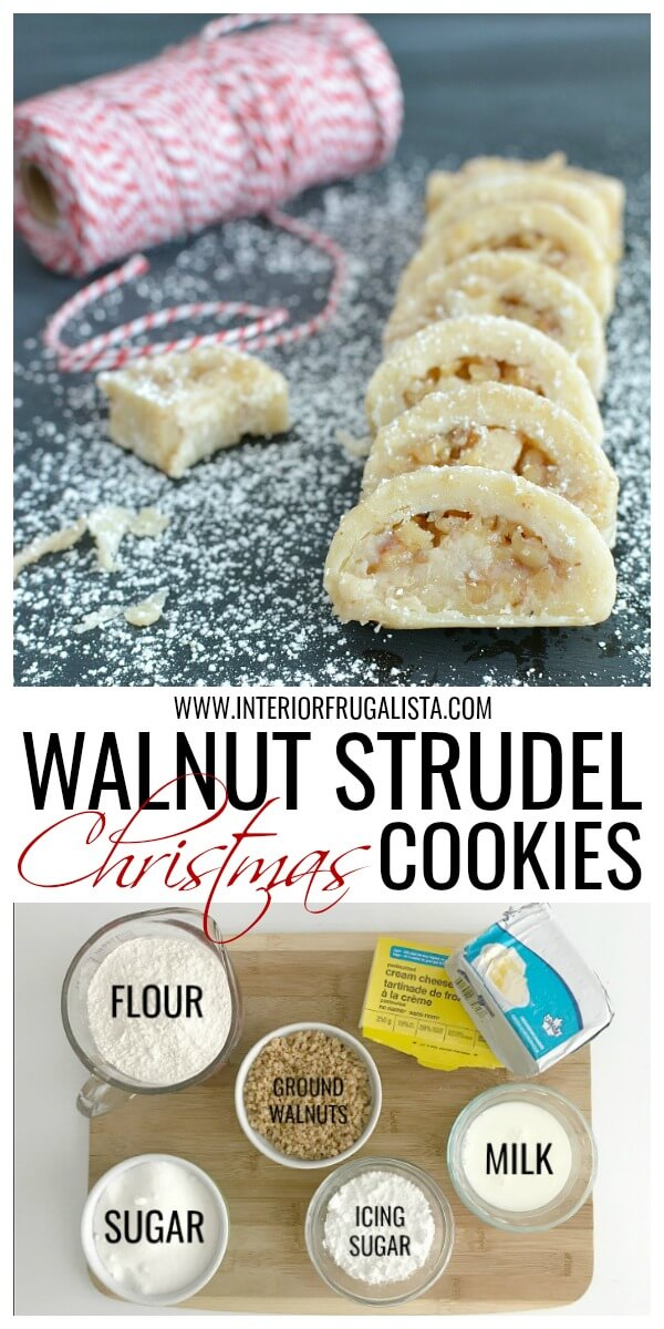 These delicious jelly roll-style walnut strudel cookies are a family favorite during the holidays and always the first to go on the cookie tray. #holidaybaking #christmascookies #walnutstrudelcookies #walnutcookierecipe