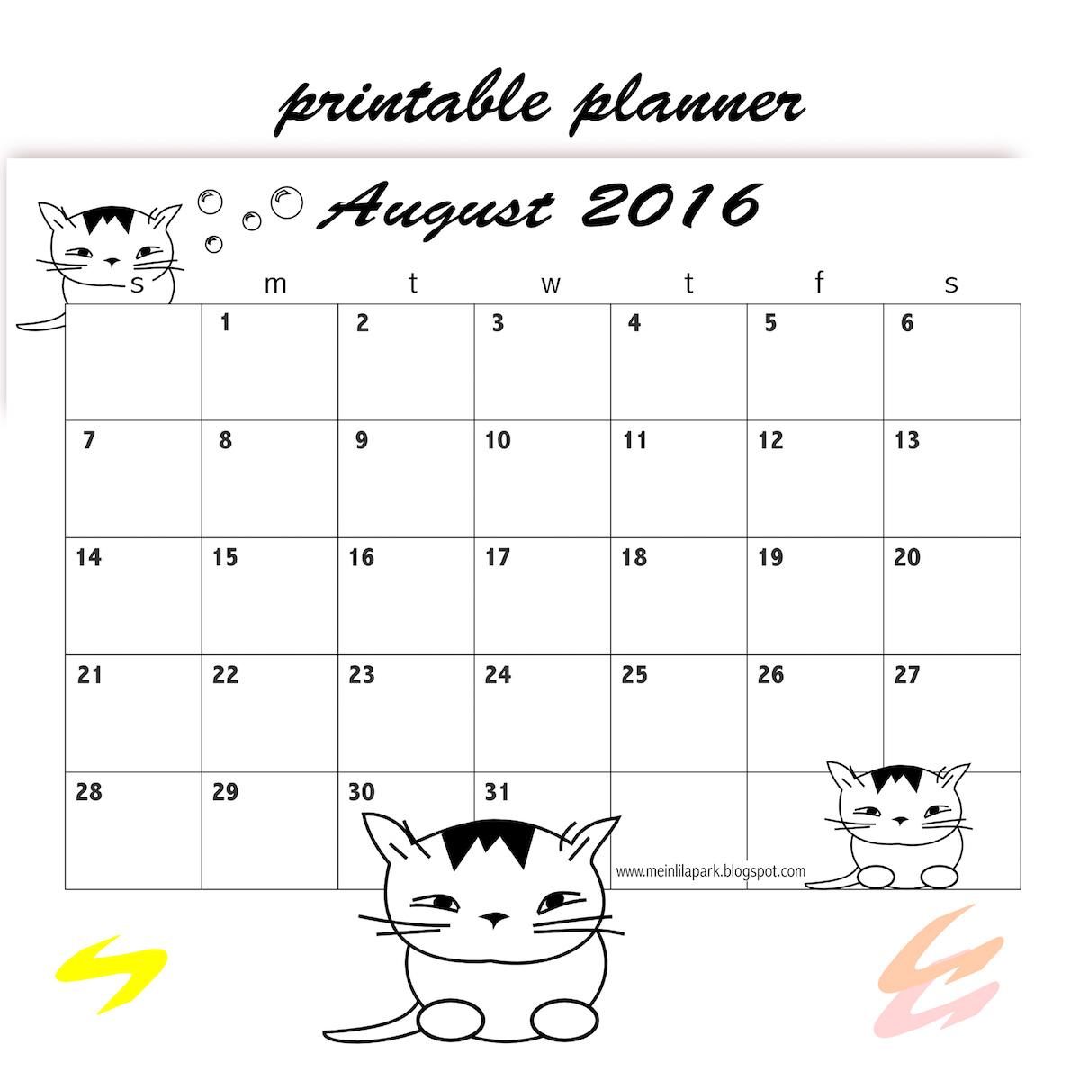 FREE printable August 2016 calendar planner - freebie | MeinLilaPark
