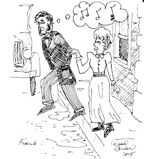 drawing of Cesar Franck stepping in front of a bus while thinking of writing a second piece of music.