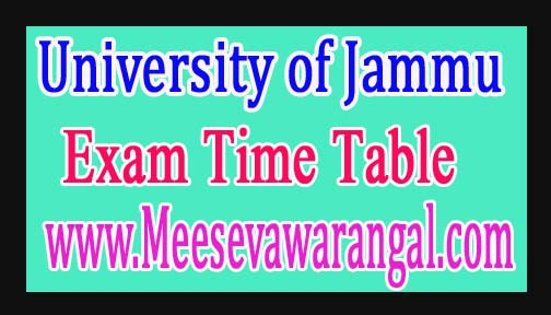 University of Jammu M.Ed Ist Sem 2016-18 Exam Time Table
