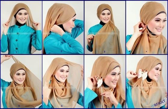 Kumpulan Gambar Tutorial Hijab Segiempat Sederhana Bila Luang
