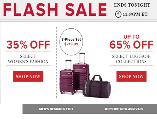 Hudson's Bay Flash Sale Up To 65% Off Luggage + 35% Off Women's Fashion