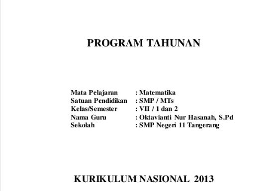 Prota Promes Matematika SMP/MTs Kelas 7 Kurikulum 2013
