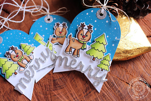 Sunny Studio Stamps: Gleeful Reindeer Christmas Gift Tags by Eloise Blue (using Sunny Semi Circle and Fishtail Banner Dies)