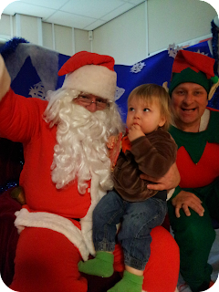 meeting Santa Claus, toddler and father Christmas