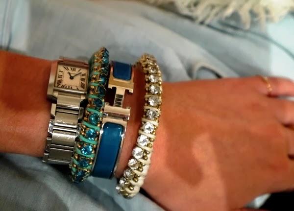 Cartier watch, Hermes enamel bangle and crystal friendship bracelets