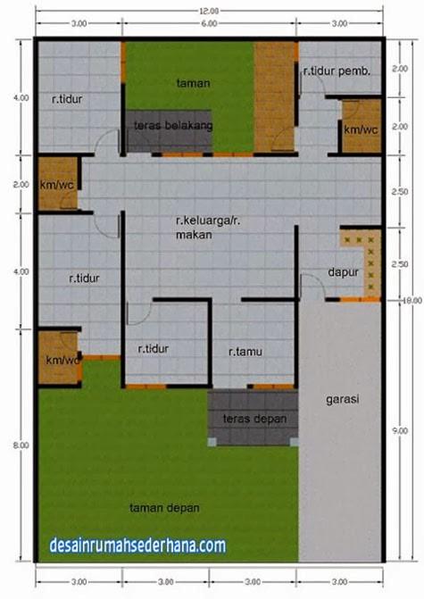 gambar denah rumah luas 120m 2