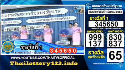 Thai Lottery 01 March 2019 Live Result in English Online Update