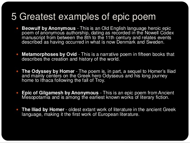 English Language and Literature Epic Poetry And Its Characteristics