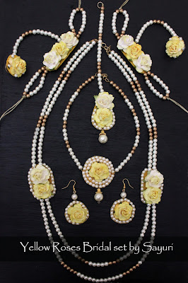 haldi yellow flower jewelry
