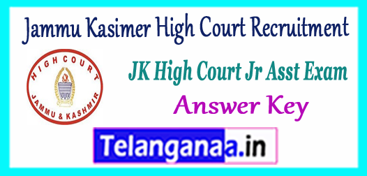 Jammu Kasimer High Court Junior Assistant Answer Key 2017
