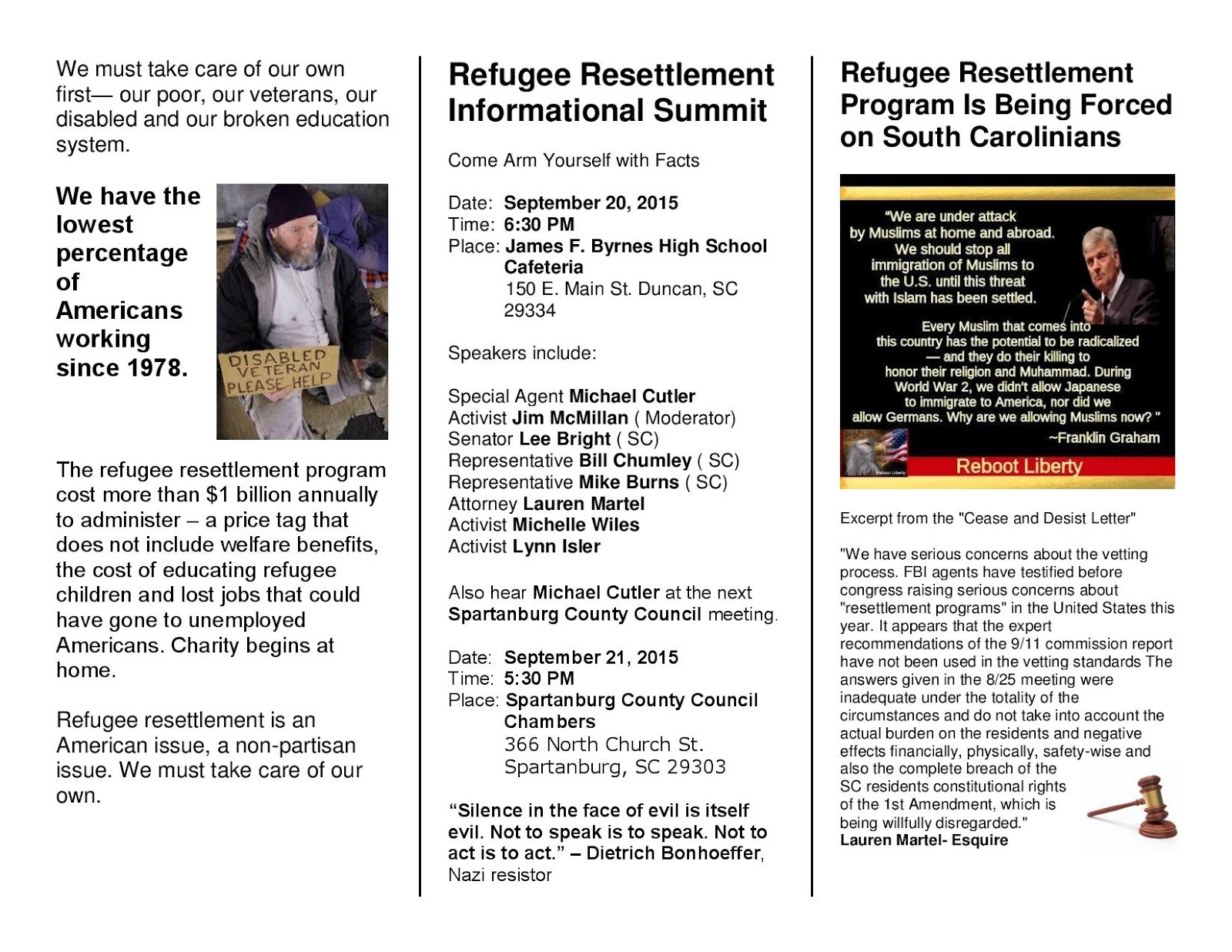 spartanburg muslim I request that any plans to resettle refugees in the spartanburg, south carolina (r-sc) demands influx of muslim refugees cease.