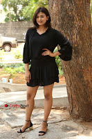 Actress Hebah Patel Stills in Black Mini Dress at Angel Movie Teaser Launch  0023.JPG