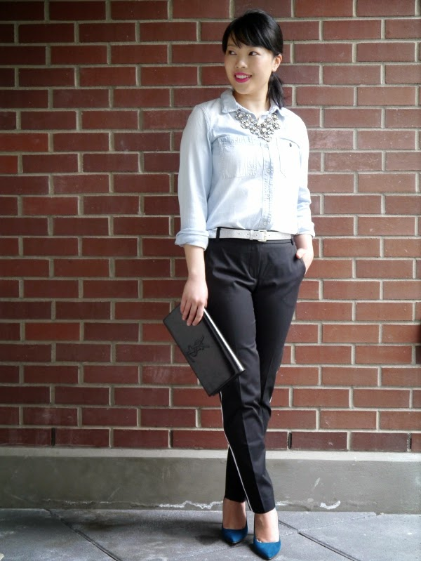 Rhinestone statement necklace worn with chambray shirt, tuxedo trousers, and teal suede heels