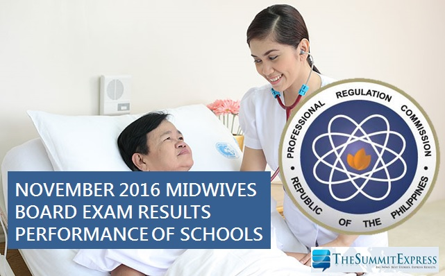 Performance of Schools Midwives board exam November 2016
