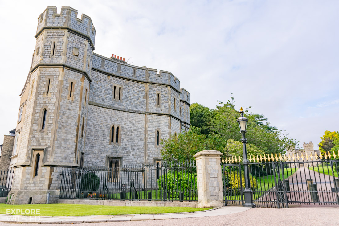 Windsor Castle gates viewed from the long walk