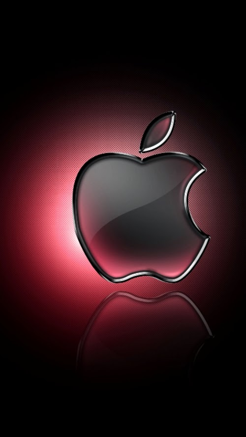 Glass Apple Logo With Red Glow Iphone  Hq Wallpaper