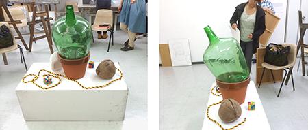 横浜美術学院の中学生教室 美術クラブ 夏休み美術教室  モチーフと場所取り