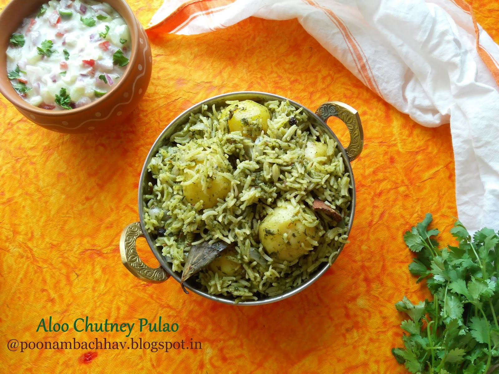Indian food recipes indian recipes desi food desi recipes aloo chutney pulao is a flavorful one pot meal where rice is cooked with baby potatoes and green chutney the spicy coriander and mint chutney adds both forumfinder Gallery