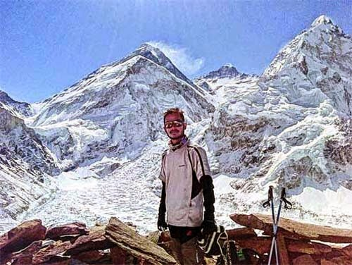 Anis Luitel at the Mt Everest base camp