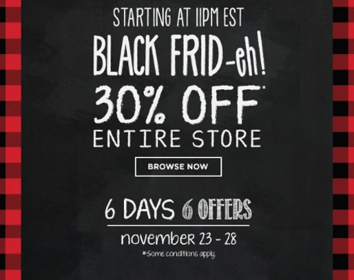 Roots Black Frid-Eh 30% Off Entire Store + 6 Days 6 Offers