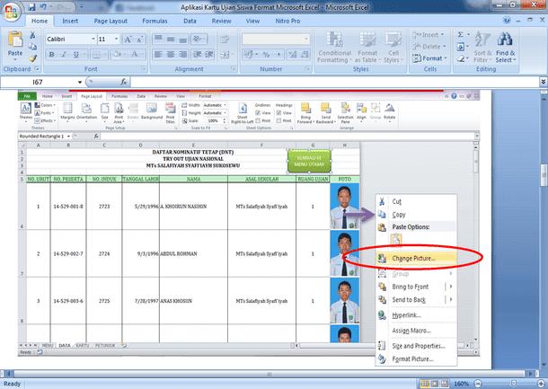Aplikasi Kartu Ujian Siswa Format Microsoft Excel