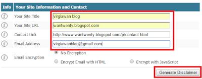 Membuat halaman disclaimer blog atau website