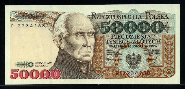 Poland money Polish banknotes 50000 Zlotych banknote Staszic