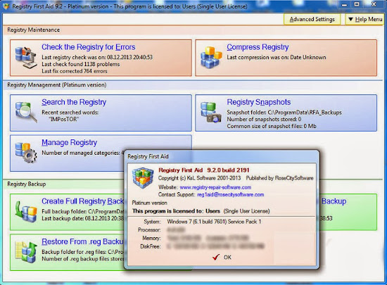 Registry First Aid Platinum 9.2.0 Full Version Free Download With Keygen Crack Licensed File