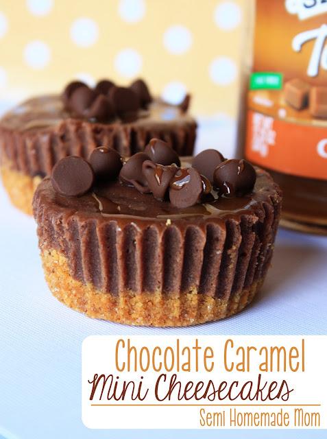 Chocolate Caramel Mini Cheesecakes