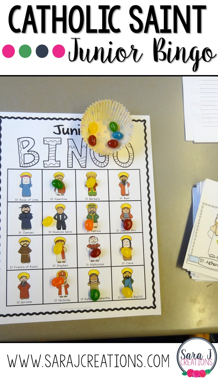Catholic Saint Junior Bingo is a fun game for kids to review and learn about saints.
