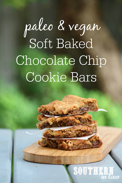 Quick Paleo Vegan Soft Baked Chocolate Chip Cookie Bars Recipe – gluten free, grain free, healthy, vegan, soy free, sugar free, egg free, dairy free, paleo, clean eating recipe