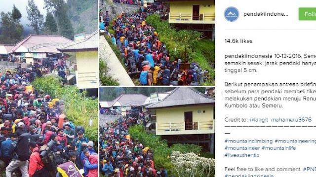 Heboh di Instagram, Jalur Pendakian Semeru Jadi 'Lautan' Manusia, Mau Mendaki Apa Tawuran