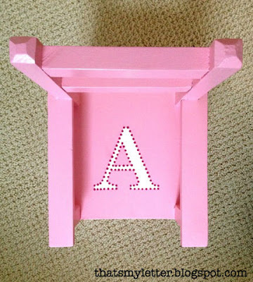 doll chair makeover with monogram