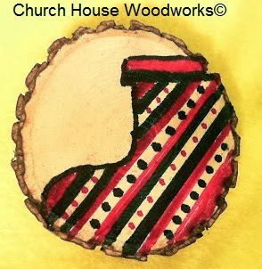 DIY Wood Christmas Ornaments- Hand Drawn Christmas Stocking on Wood Slice