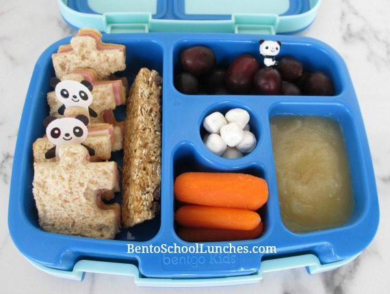Puzzle themed lunch in leak proof Bentgo bento box