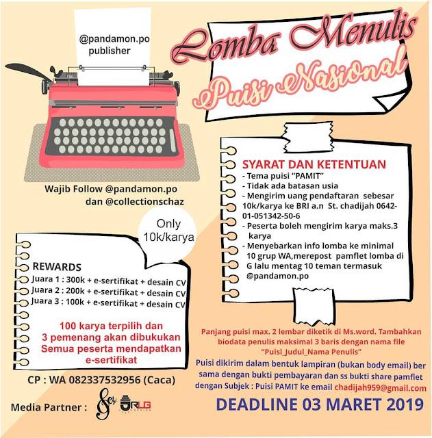 Lomba Menulis Puisi Nasional Pandamon PO 2019 Umum