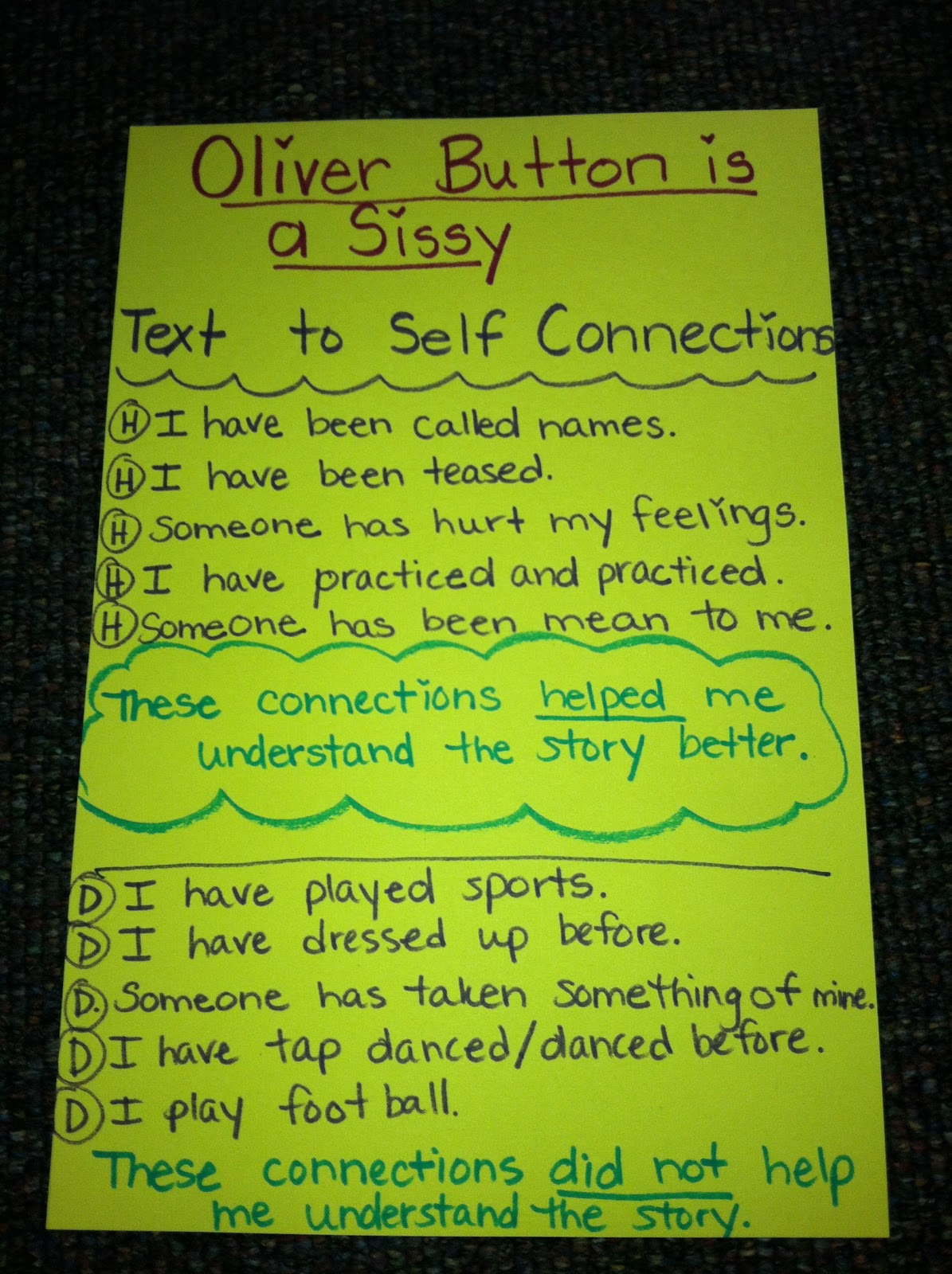 Follow First Grade Text To Self Connections With Oliver