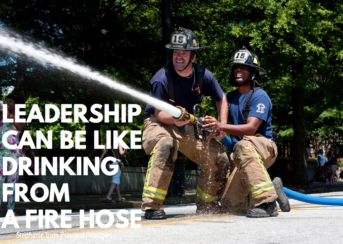 Leadership can be like drinking from a fire hose. & Leadership can be like Drinking from a Fire Hose - Principal Principles