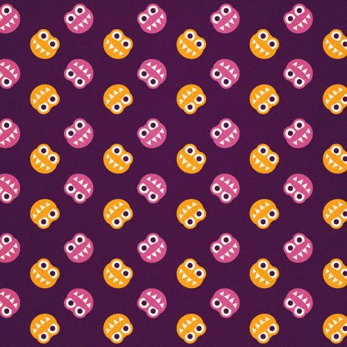 Purple Pattern With Funny Smiling Orange And Pink Bugs Sharp Teeth