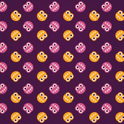 Purple pattern with funny smiling orange and pink bugs with sharp teeth