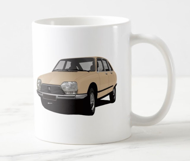 CItroën GS - two image coffee mug - car illustration
